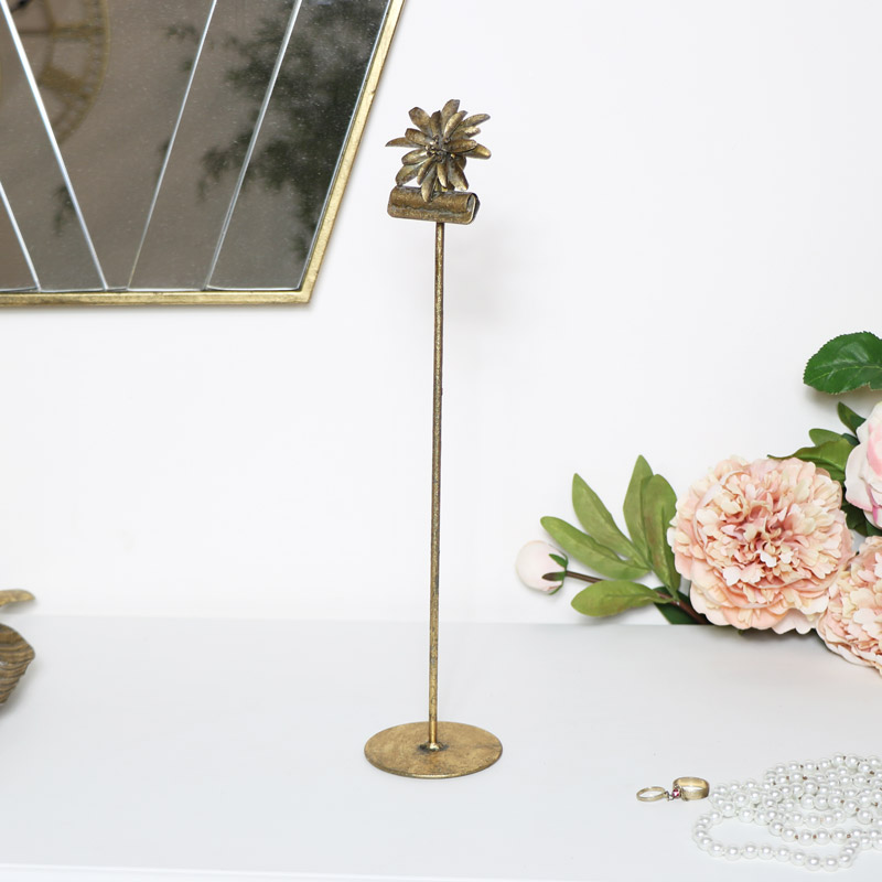 Gold Metal Flower Menu/Photo Clip Stand