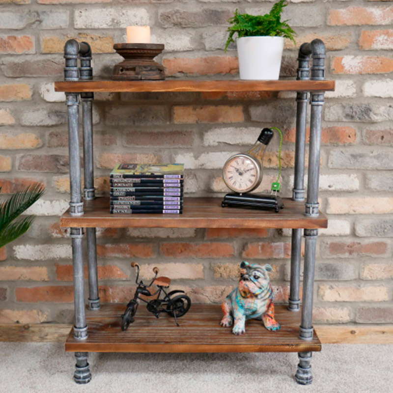 Small Industrial Metal & Wood Pipe Shelving Unit
