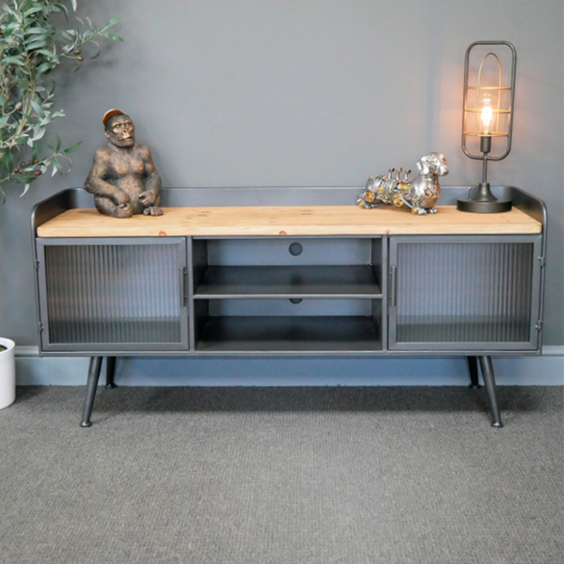 Reeded Glass Metal & Wood TV Cabinet/Media Unit