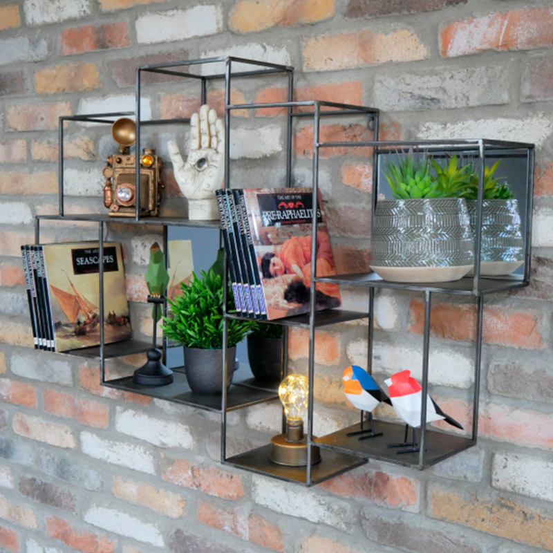 Industrial Multi Shelf Mirrored Wall Unit
