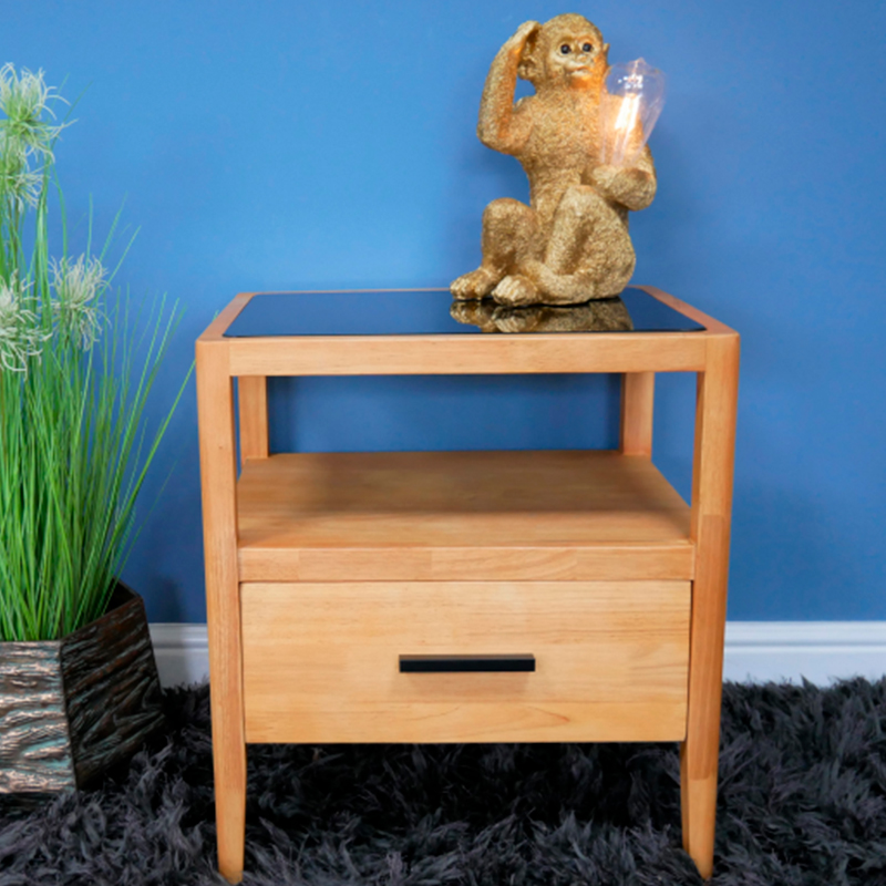 Wood & Glass 1 Drawer Bedside Table