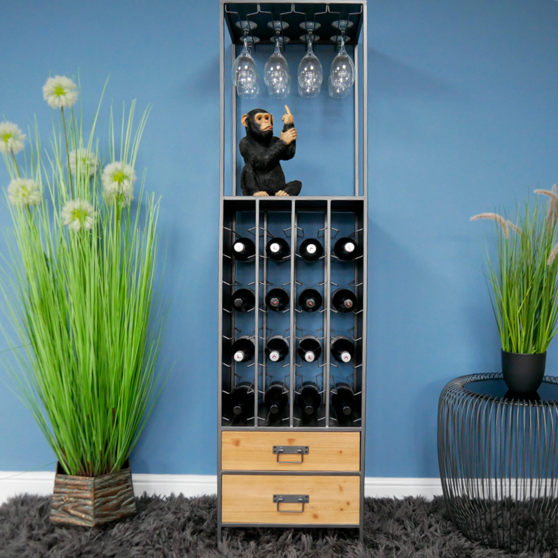 Tall Rustic Industrial Wine Cabinet