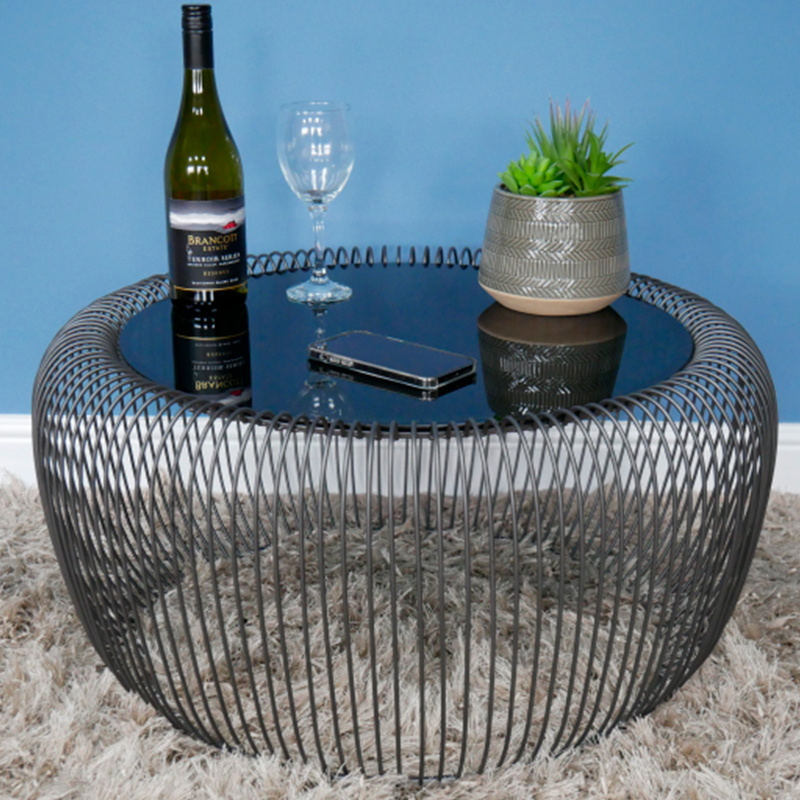 Small Black Metal & Glass Wire Coffee Table