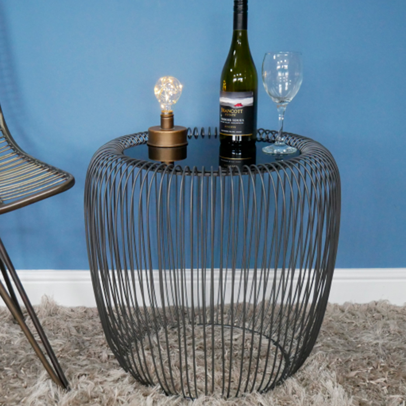 Black Metal & Glass Wire Side Table