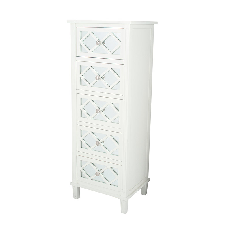 White Mirrored Tall Boy Drawers