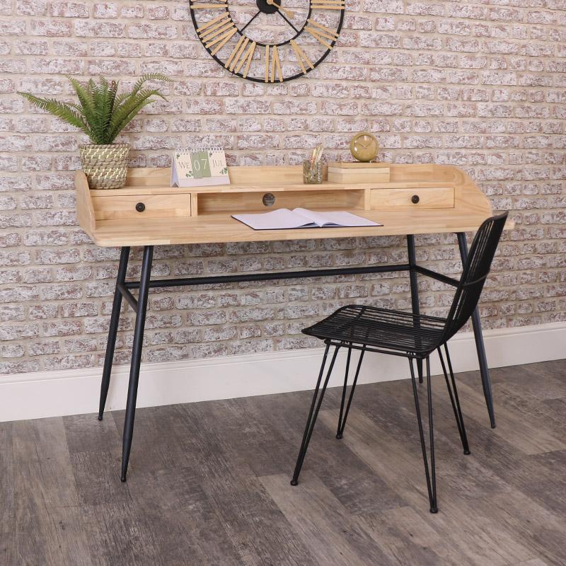 Wood & Metal Desk with Drawer Storage