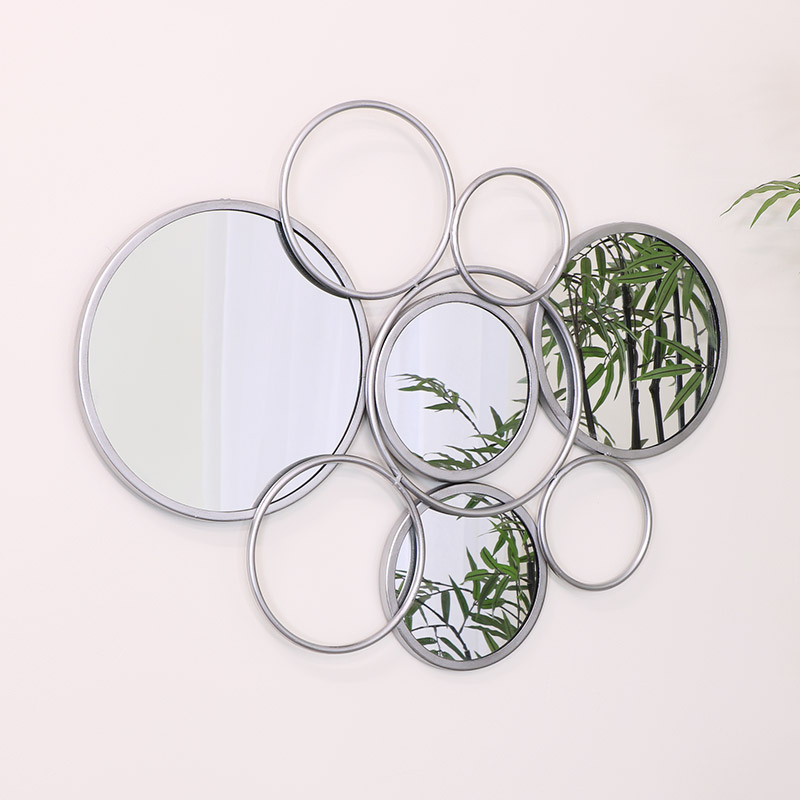 Abstract Multi Circle Silver Mirror 54cm x 73cm