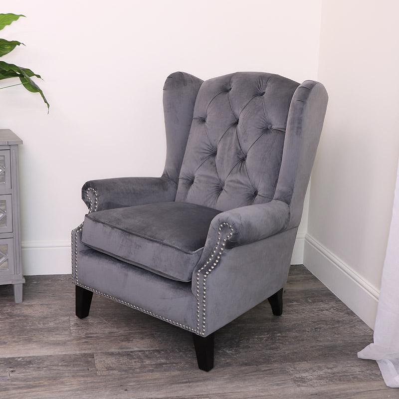 Dark Grey Velvet Armchair