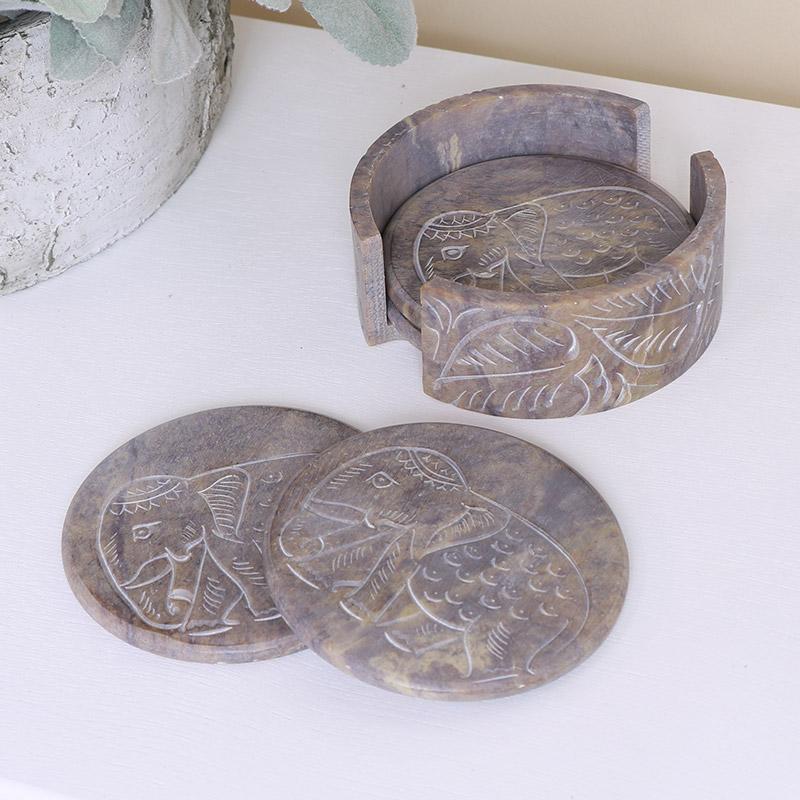 Brown Elephant Boho Soapstone Coasters