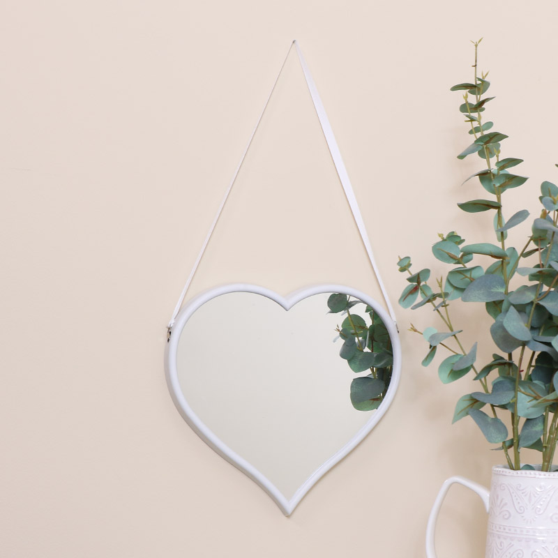 Large White Heart Mirror