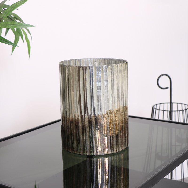 Large Silver & Bronze Ombre Candle Holder