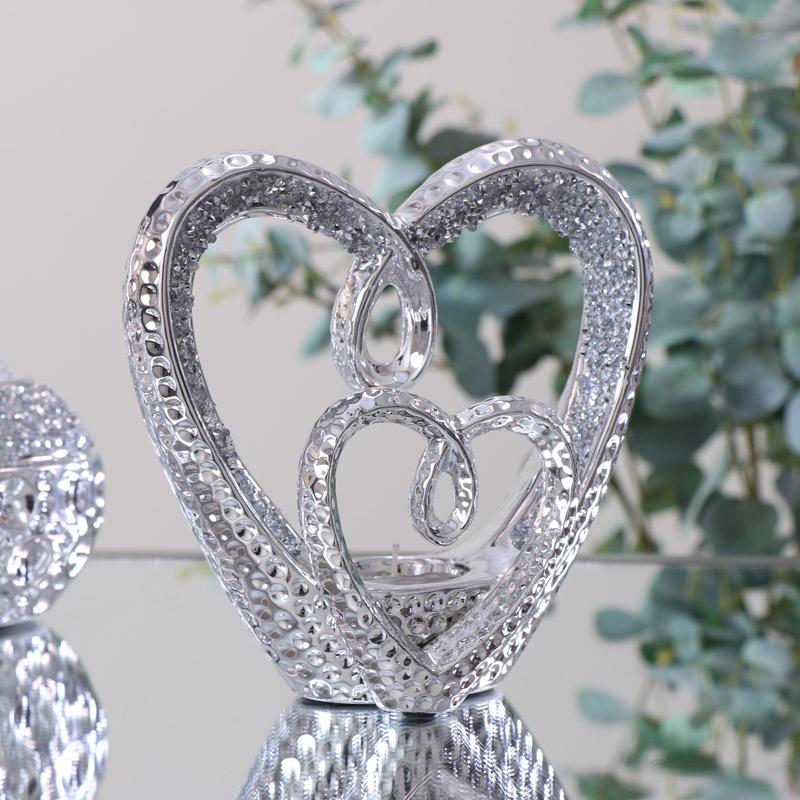 Silver Twin Heart Tealight Holder