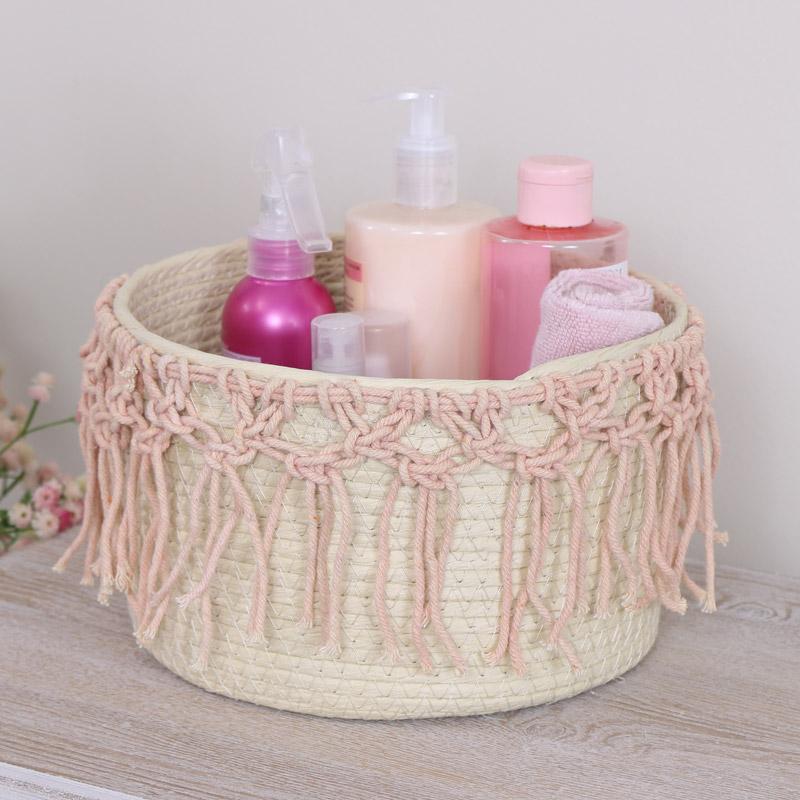 Small Woven Macrame Basket