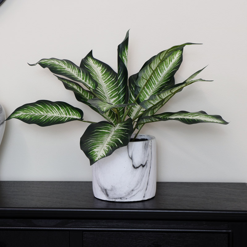Faux Dieffenbachia With Marble Planter