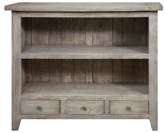 Studley Range - Low 2 Shelf Bookcase with 3 Drawers in Acacia Wood