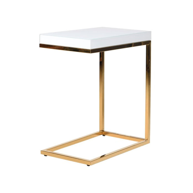 Gold Metal White Topped Side Table