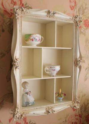 cream distressed shabby wall shelf unit chic storage. Black Bedroom Furniture Sets. Home Design Ideas