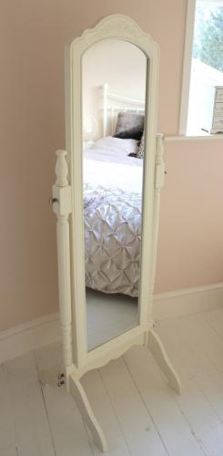 Vintage Cream full length cheval mirror