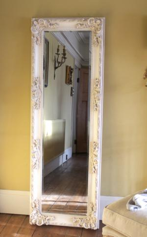 Cream tall ornate mirror