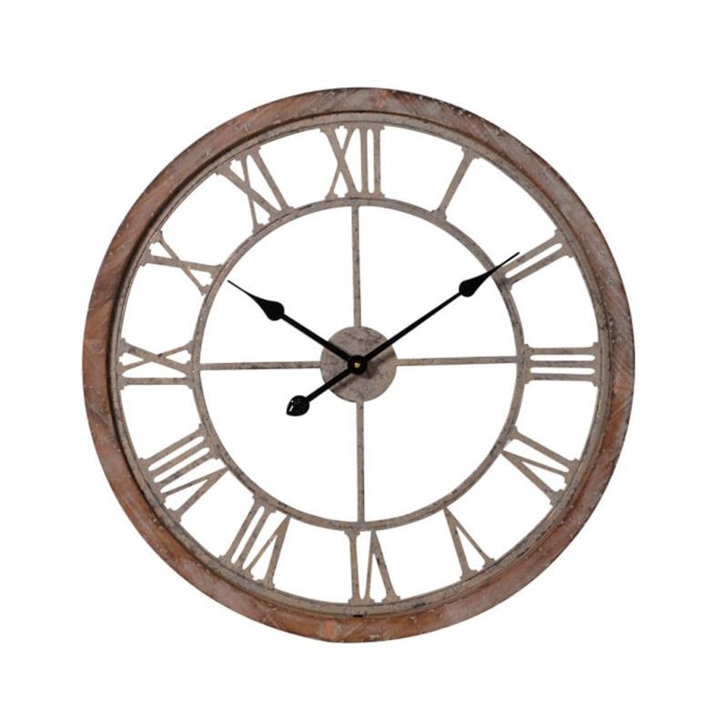 Rustic Wood & Metal Skeleton Clock