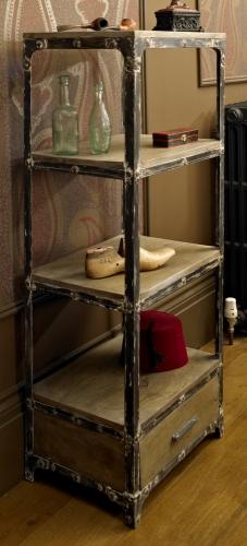 Iron three shelf one drawer unit