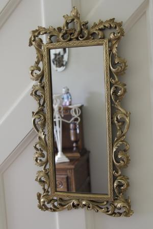 Gold long thin shabby vintage rocco french style wall for Long skinny wall mirrors