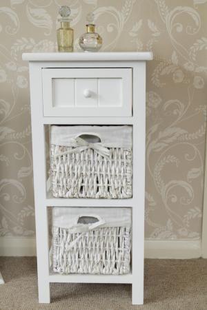 white side cabinet bedside storage unit table basket shabby vintage chic wicker ebay. Black Bedroom Furniture Sets. Home Design Ideas