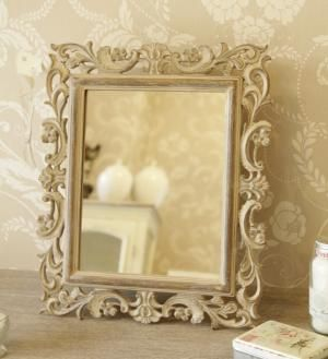 Carved washed wood mirror