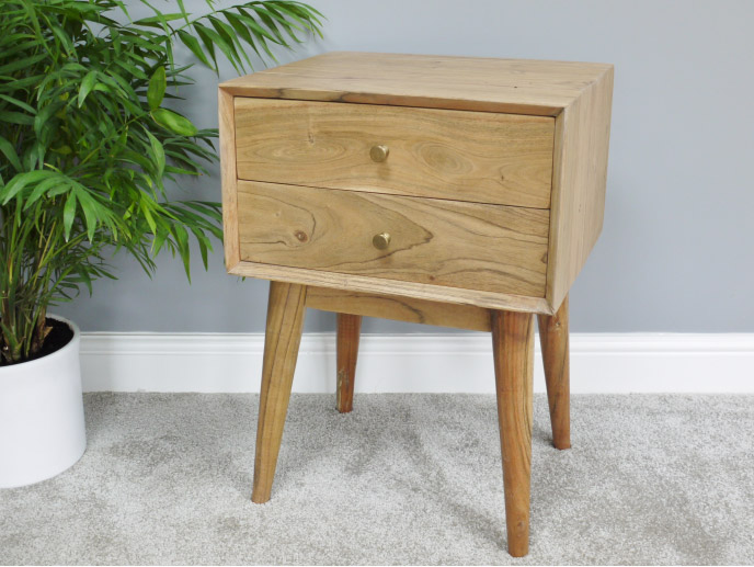 Acacia Wood 2 Drawer Bedside Table