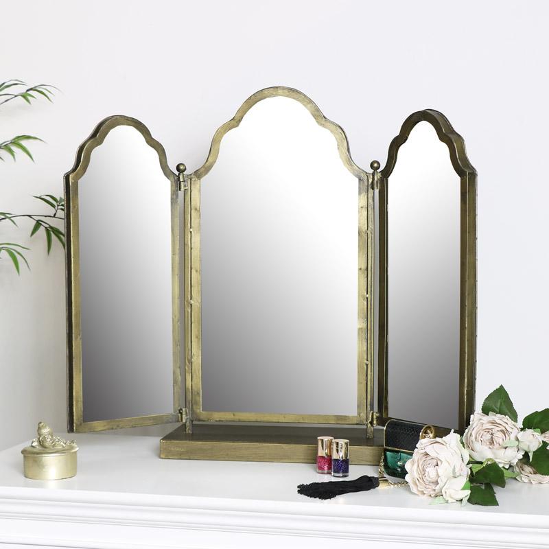 Antique Brass Dressing Table Mirror, Brass Tri Fold Dressing Table Mirror