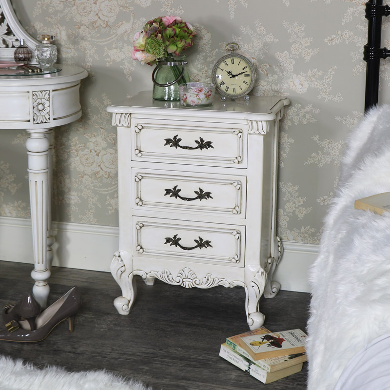 Cream Vintage Bedside Table - Limoges Range