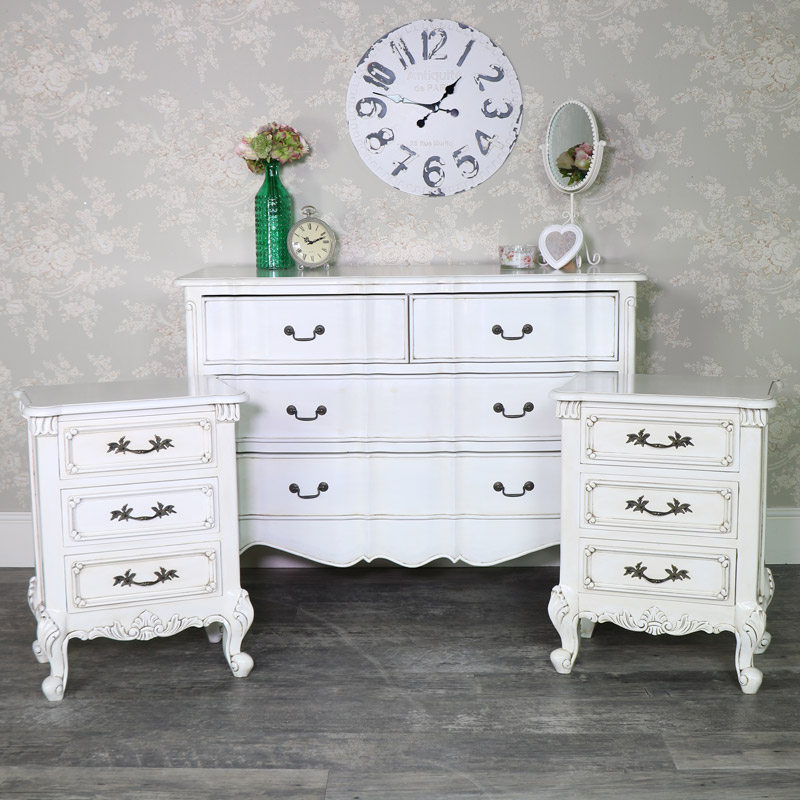 Cream Chest of Drawers and Pair of Bedside Chests - Limoges Range
