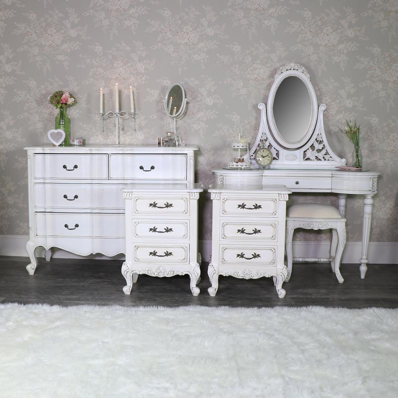 Cream Dressing Table Set, Chest of Drawers and Pair of Bedsides - Limoges Range