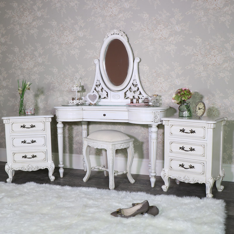 Antique Cream Dressing Table Set with Pair of Bedside Chests - Limoges Range