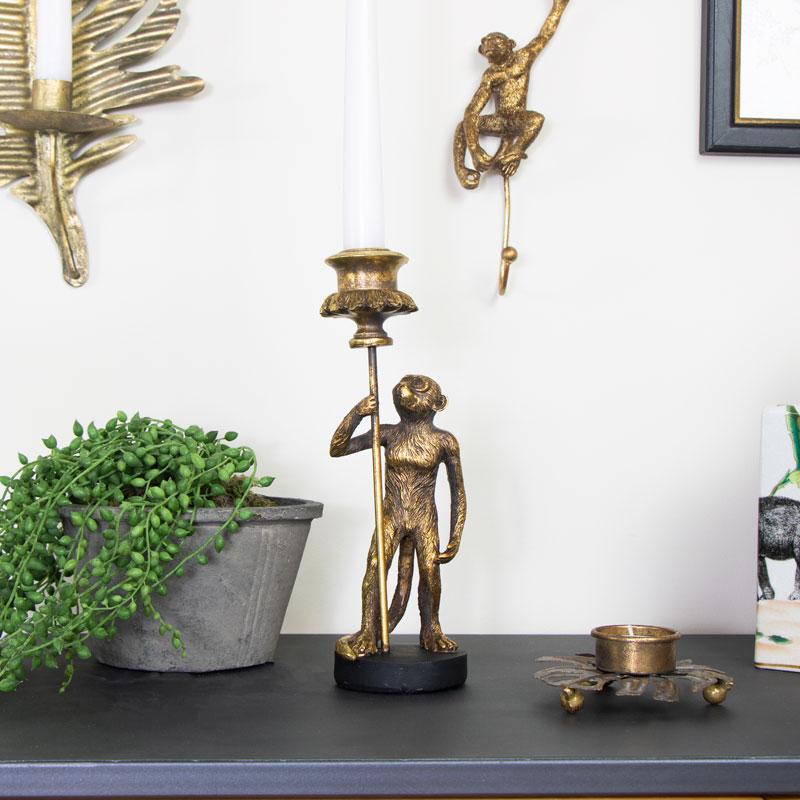 Antique Gold Monkey Candle Holder