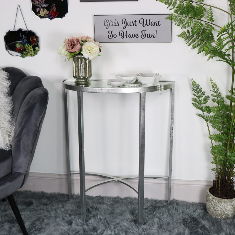 Antique Silver Mirrored Half Moon Console Table
