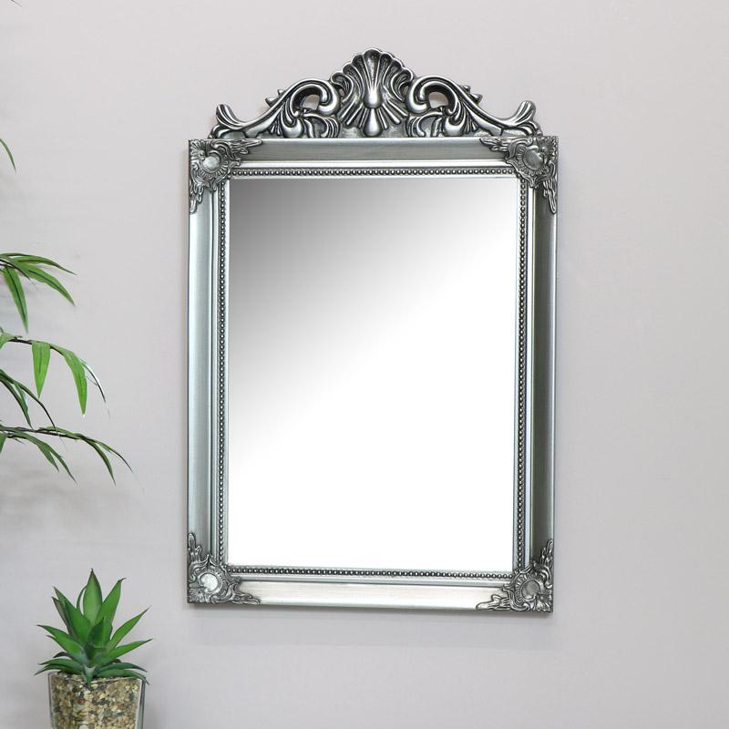 Antique Silver Wall Mirror 36cm x 55cm