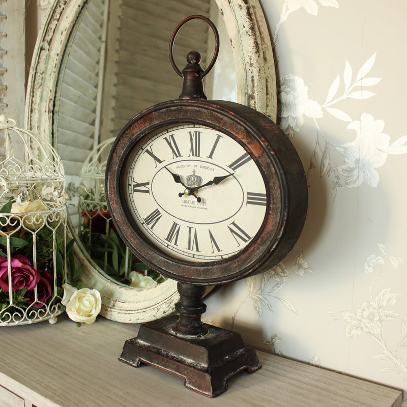 Antique Vintage Style Metal Fob Watch Mantel Clock on Stand
