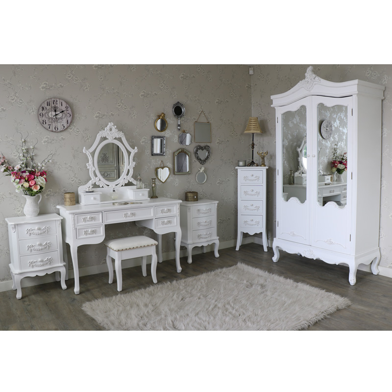 White french bedroom furniture wardrobe dressing table