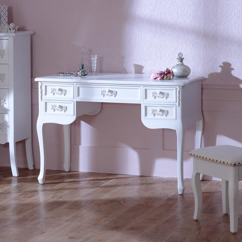 White Dressing Table Desk - Pays Blanc Range DAMAGED SECONDS ITEM 2957