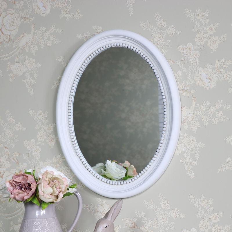Antique White Oval Wall Mirror 40cm x 49.5cm