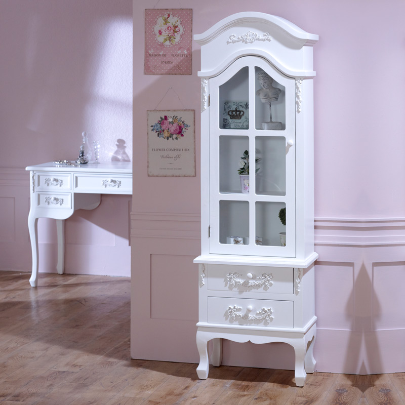 Antique White Tall Display Cabinet with Drawers - Pays Blanc Range