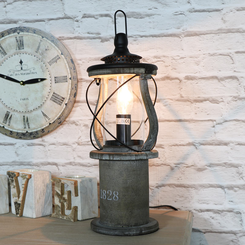 Antique wooden miners lantern style table lamp