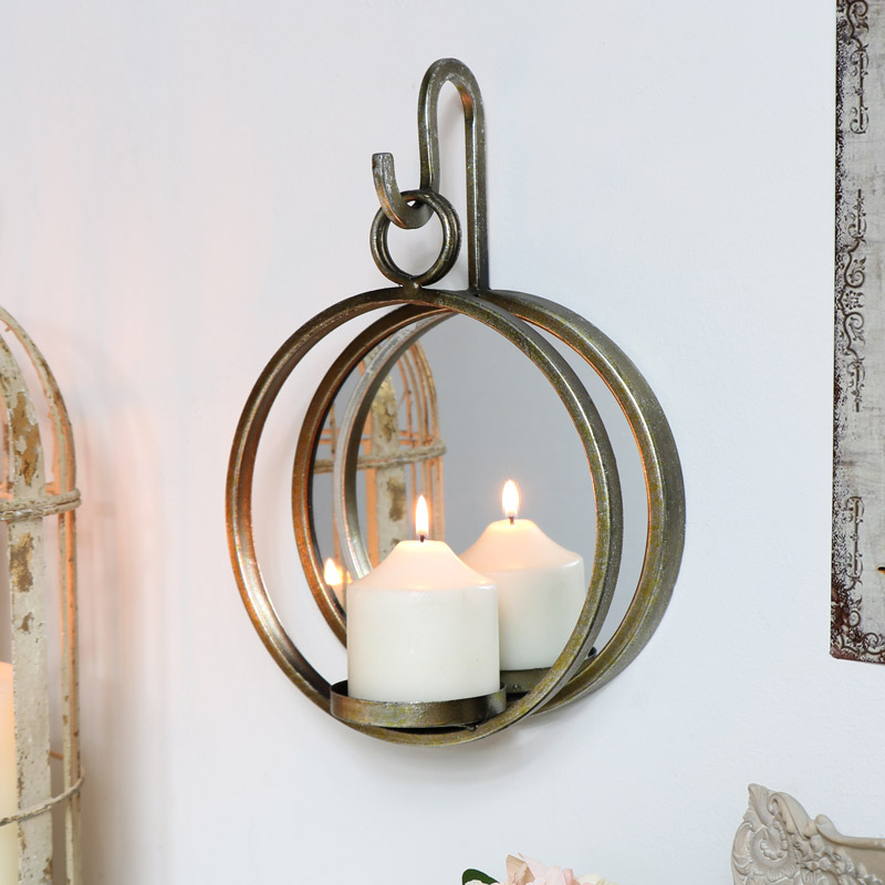 Antiqued Gold Mirror with Candle Sconce