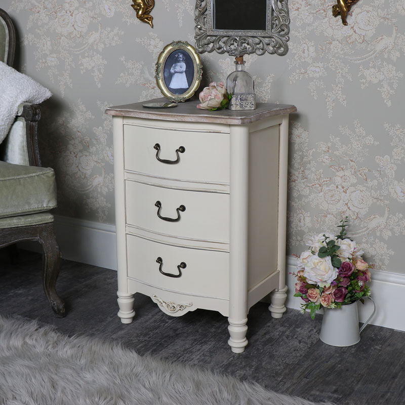 Antoinette Range - Cream Three Drawer Bedside Chest
