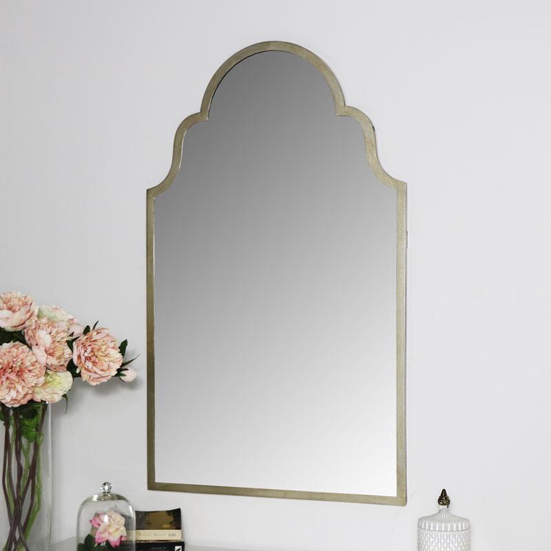 Arched Antique Silver Wall Mirror 61cm x 101cm