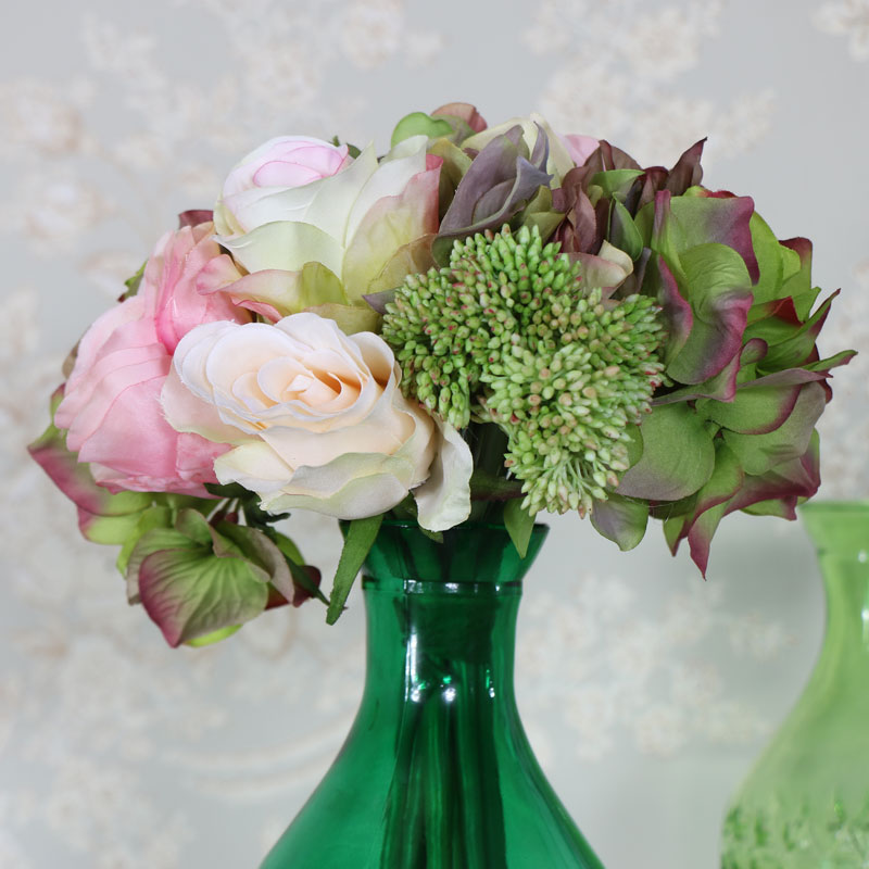 Artificial Pink and Cream Rose Posy