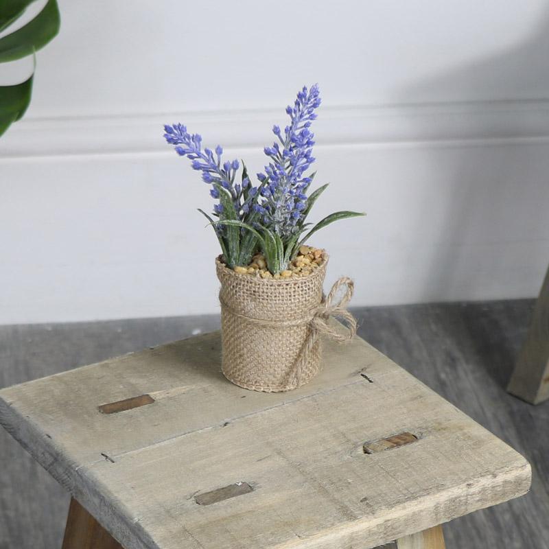 Artificial Purple Lavender in Hessian Pot