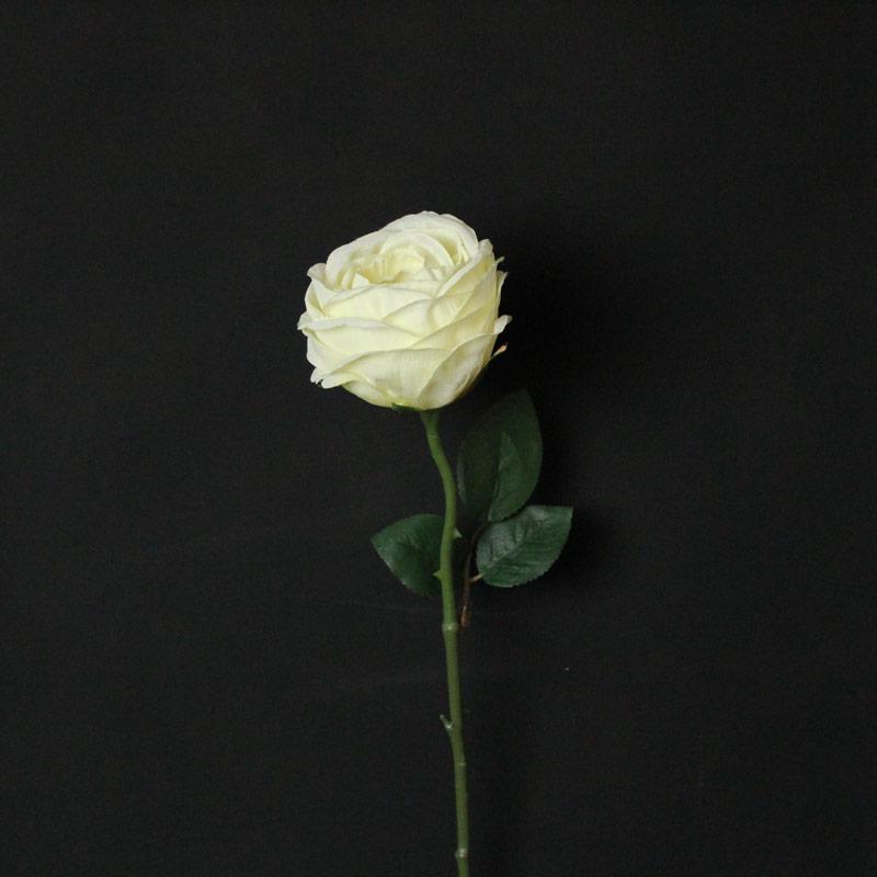 Artificial Single Cream Rose Stem