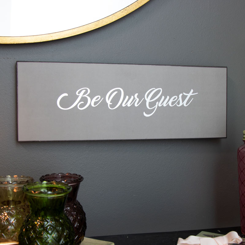 'Be Our Guest' Grey Wall Plaque